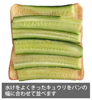 ツナサンドイッチ 水けをよくきったキュウリをパンの幅に合わせて並べます