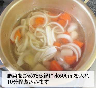 トマトスープ 鍋に水600mlを入れ10分程煮込みます