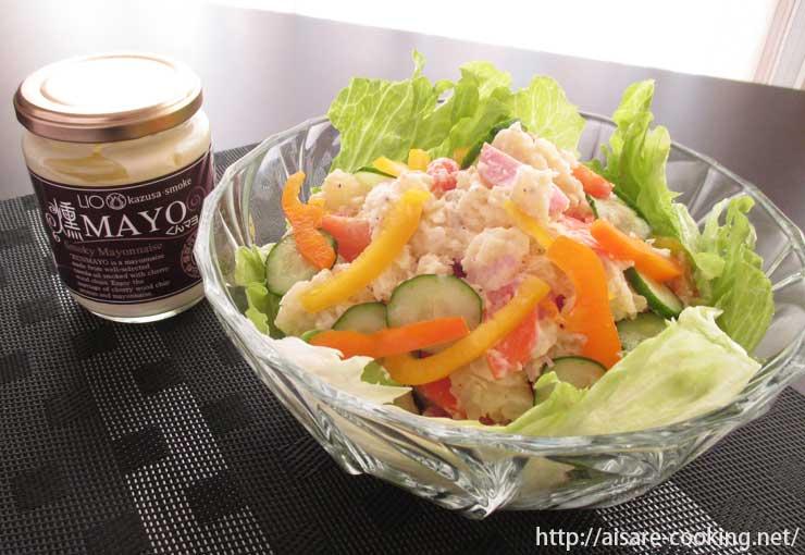 サラダと燻製マヨネーズ
