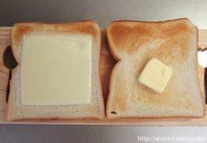 食パンにバターを塗ります