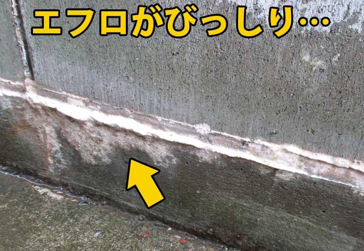 コンクリートに付いたエフロ汚れ